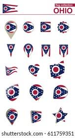 Ohio Flag Collection. Big set for design. Vector Illustration.