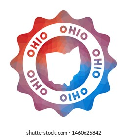 Ohio low poly logo. Colorful gradient travel logo of the us state in geometric style. Multicolored polygonal Ohio rounded sign with map for your infographics.