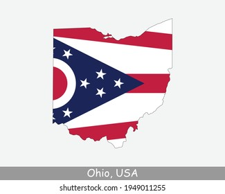 Ohio Map Flag. Map of OH; USA with the state flag isolated on white background. United States; America; American; United States of America; US State. Vector illustration.