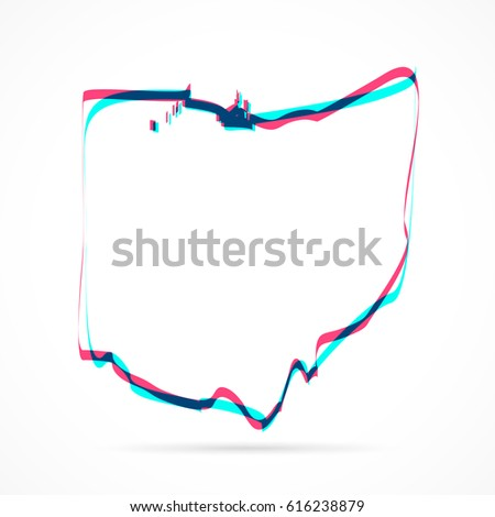 Ohio Map Hand Drawn Blue Pink Stock Vector Royalty Free 616238879