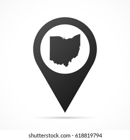 Ohio Map on location pin. Map pointer isolated on a white background. Conceptual vector illustration.