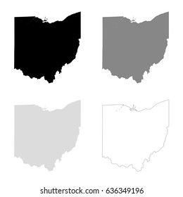 Ohio maps in black, gray and line art. High detailed vector map, easy to edit.