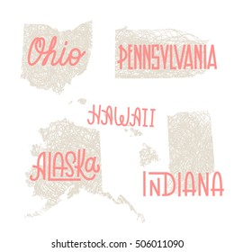 Ohio, Pennsylvania, Hawaii, Alaska, Indiana USA state outline art with custom lettering for prints and crafts. United states of America wall art of individual states