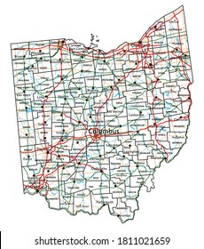 Ohio road and highway map. Vector illustration.