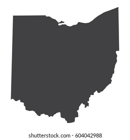 Ohio state map in black on a white background. Vector illustration