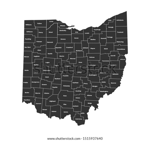 Ohio State Map Ohio Counties Map Stock Vector (Royalty Free ... on defiance county map, fort defiance arizona map, jonesville virginia map, defiance indiana map, defiance online map, defiance san francisco map, mount gilead map, defiance missouri, defiance michigan map, defiance oh,