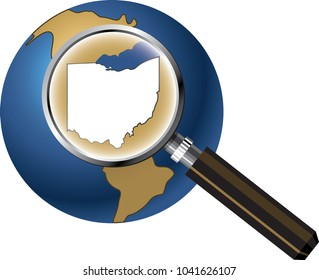 Ohio State Map Enlarged with Magnifying Glass on Globe