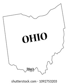 An Ohio state outline with the date of statehood isolated on a white background