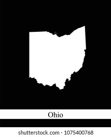 Ohio state of USA map vector outline illustration black and white abstract background. Highly detailed creative map of Ohio state of United States of America prepared by a map expert