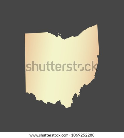 Ohio State Usa Map Vector Outline Stock Vector Royalty Free - Ohio-in-the-us-map