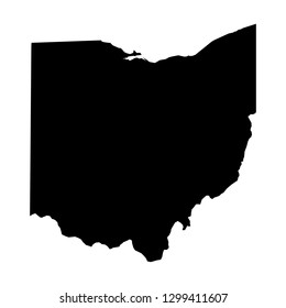 Ohio, state of USA - solid black silhouette map of country area. Simple flat vector illustration.