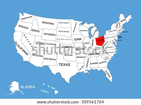 Ohio State Usa Vector Map Isolated Stock Vector Royalty Free