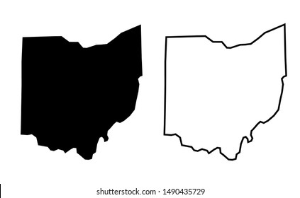 Ohio US state blank map vector solid black color and outline isolated on white background