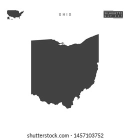 Ohio US State Blank Vector Map Isolated on White Background. High-Detailed Black Silhouette Map of Ohio.