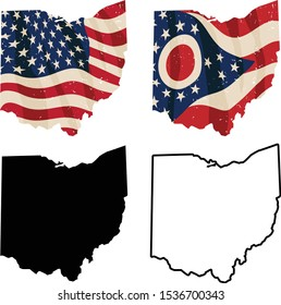Ohio with USA flag, Ohio flag, black silhouette and black outline isolated vector illustration