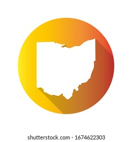 Ohio, USA Symbol Map Icon Round. Flat Vector Art Design with Shadow. Gradient Color Banner.
