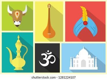 ohm, turban, taj mahal, cow, tanpura, jar vector icon with colourful background.