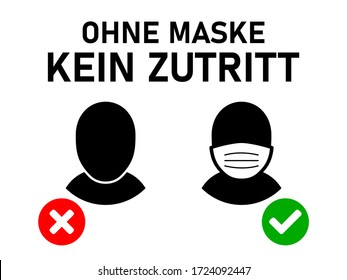 "Ohne Mundschutz Kein Zutritt (""No Face Mask No Entry"" in German) Sign. Vector Image."