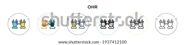 Ohr icon in filled, thin line, outline and stroke style. Vector illustration of two colored and black ohr vector icons designs can be used for mobile, ui, web