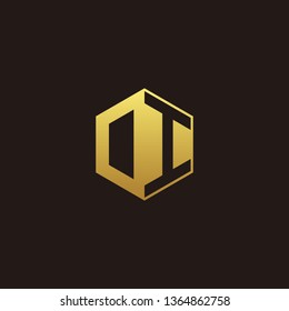 OI or DI Logo Monogram with Negative space gold colors