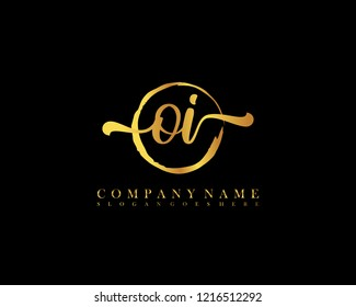 OI initial handwriting logo circle template vector