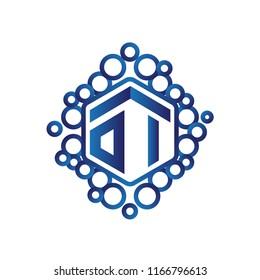 OI Initial letter hexagonal logo vector