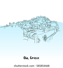 Oia, Greece Greeting Card Design, Hand-drawn Vector Outline Sketch