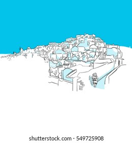 Oia Panorama, Greece, Blue Series, Hand-drawn Vector Artwork