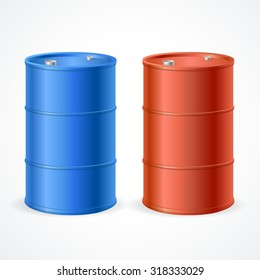 Oil Barrel Drum. Red and Blue. Vector illustration