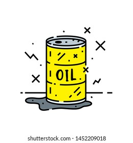 Oil barrel line icon. Cartoon pollution spill from yellow metal drum symbol. Vector illustration.
