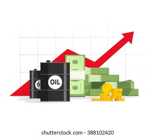 Oil barrel price cost revenue stock market increase, world economy money inflation growth, economic rising graph upward high vector, income concept financial progress, production increase, budget