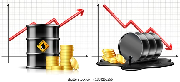 Oil barrel price falls down chart and Keg is lying in spilled puddle of crude oil. Price rises chart and Black oil drum. Oil industry crisis or Price Rises Concept. Market trend.
