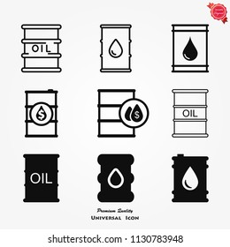 Oil barrel vector icon, isolated object on white background