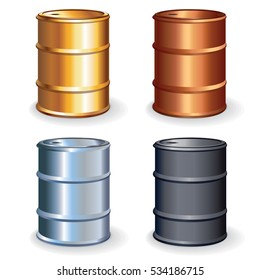 Oil Barrels, Drums Set. Isolated Vector Objects