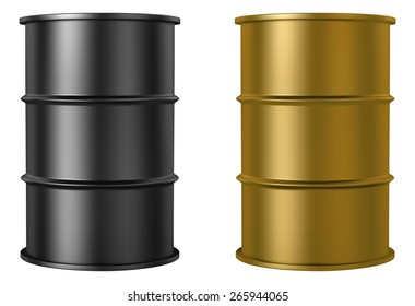 Oil barrels isolated on white background, black and gold color, vector illustration -  created with gradient mesh