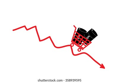Oil barrels in shopping cart representing oil trade and oil price drop. Vector illustration