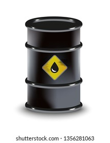Oil black barrel petroleum spilled vector 3D illustration realistic. For infographics, fuel, industry, power, industry, ecology.