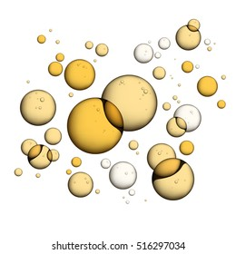Oil Bubbles Isolated on White Background, Closeup Collagen Emulsion in Water. Vector Illustration. Gold Serum Droplets.