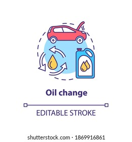 Oil change concept icon. Replacement engine filter. Regular oil change idea thin line illustration. Car gas mileage improvement. Vector isolated outline RGB color drawing. Editable stroke