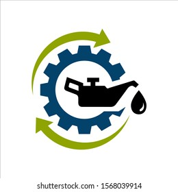 oil change icon logo vector. silhouette of oil canister bottle gear and circle arrow .symbol for automotive machine engine.