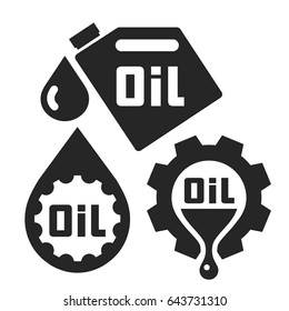 Oil change service. Signs and icons. Vector illustration.