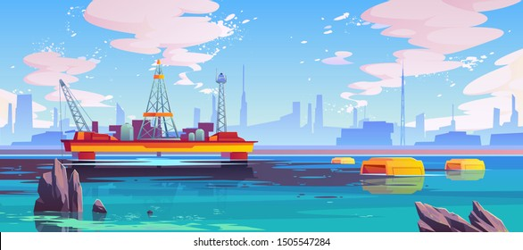 Oil cleaning in ocean, robots bio-cleaners floating around petroleum rig platform on sea surface purifying dirty polluted spot in water. Planet pollution ecological problem Cartoon vector illustration