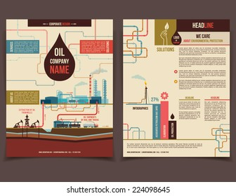 Oil company corporate flyer brochure flat design template face and back