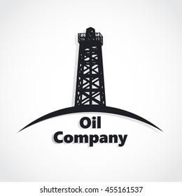 oil company logo / silhouette oil rig / vector illustration