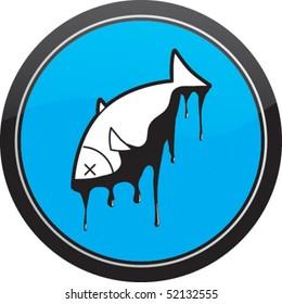Oil covered dead fish - Sea pollution