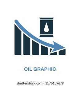 Oil Decrease Graphic icon. Monochrome style design from diagram collection. UI. Pixel perfect simple pictogram oil decrease graphic icon. Web design, apps, software, print usage.