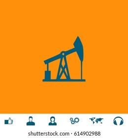 Oil derrick. Blue symbol icon on orange background. Vector illustration and bonus icons Thumb up, Man and Woman avatar, Gears, World map, Headphones