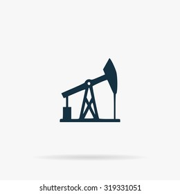 Oil derrick. Flat vector web icon or sign on grey background with shadow. Collection modern trend concept design style illustration symbol