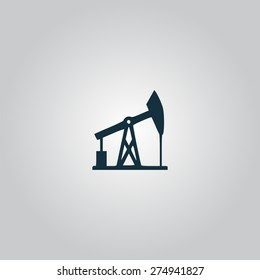 Oil derrick. Flat web icon or sign isolated on grey background. Collection modern trend concept design style vector illustration symbol