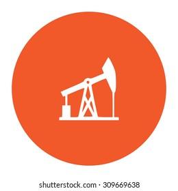 Oil derrick. Flat white symbol in the orange circle. Vector illustration icon